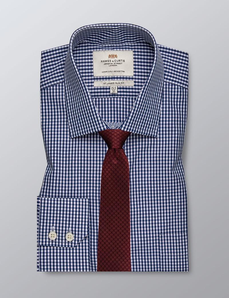 Men's Formal Navy Grid Check Slim Fit Shirt - Single Cuff - Chest Pocket - Easy Iron