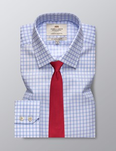 Men's Business Blue and White Grid Check Slim Fit Shirt - Single Cuff  - Easy Iron
