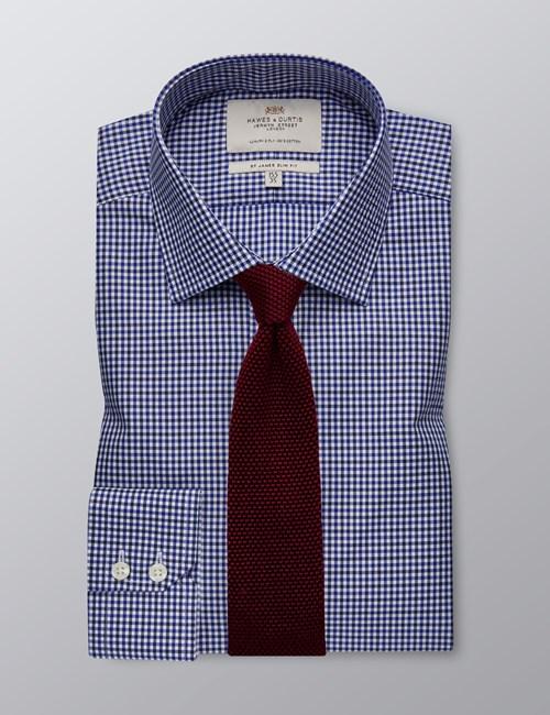 Men's Dress Blue & White Small Plaid Slim Fit Shirt - Single Cuff - Easy Iron