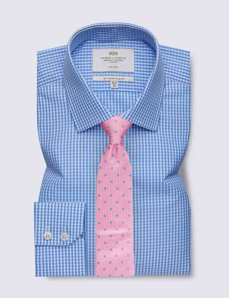 Bügelfreies Businesshemd – Slim Fit – Kentkragen – kleines Gingham Karo weiß blau