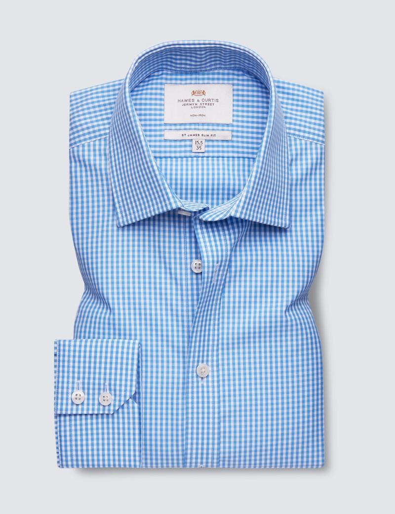 Men's Dress Blue & White Gingham Plaid Slim Fit Shirt - Single Cuff - Non Iron