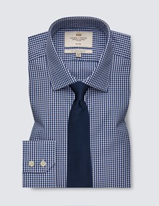 Men's Formal Navy & White Gingham Check Slim Fit Shirt - Single Cuff - Non Iron