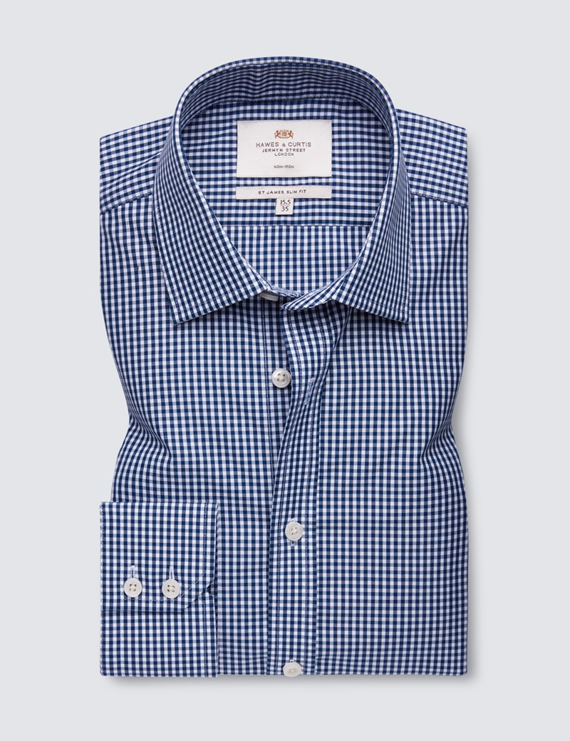 Men's Business Navy & White Gingham Check Slim Fit Shirt - Single Cuff - Non Iron
