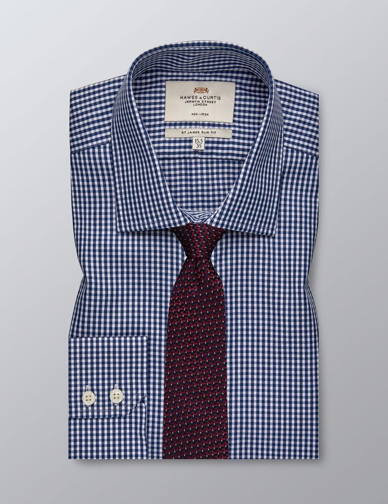 Bügelfreies Businesshemd – Slim Fit –  Kentkragen - Vichykaro dunkelblau & weiß