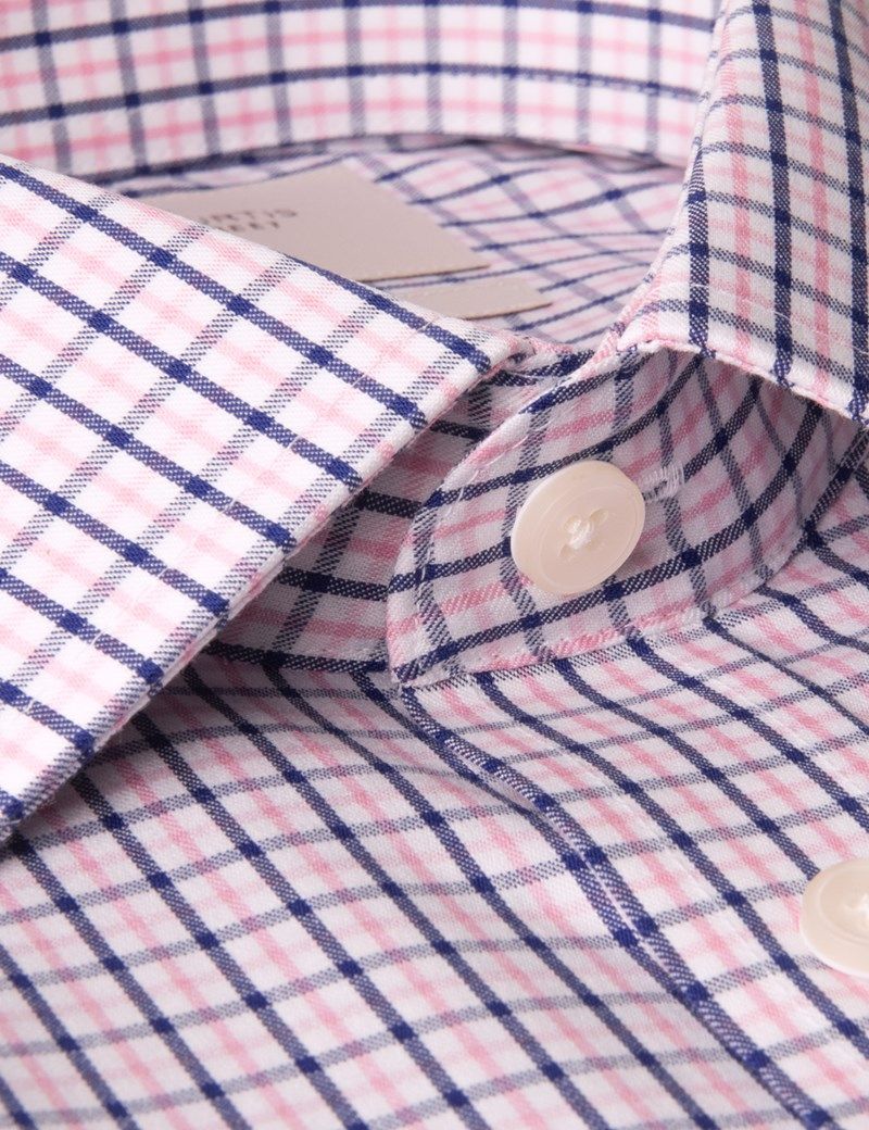 Men's Navy & Pink Multi Check Slim Fit Dress Shirt - Single Cuff - Non Iron