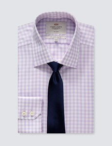 Men's Formal Lilac & White Gingham Check Slim Fit Shirt - Single Cuff - Non Iron