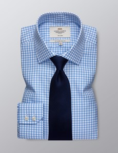 Men's Formal Blue & White Gingham Slim Fit Shirt - Single Cuff - Non Iron