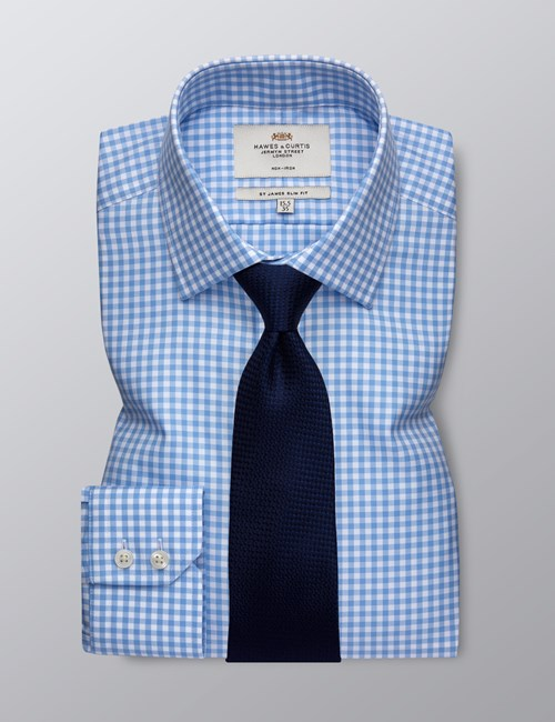 Men's Dress Blue & White Gingham Slim Fit Shirt - Single Cuff - Non Iron