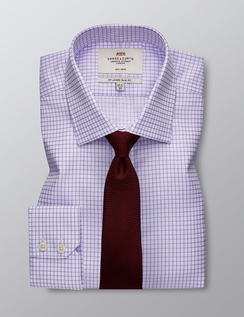 Men's Dress Lilac & White Grid Plaid Slim Fit Shirt - Single Cuff - Non Iron