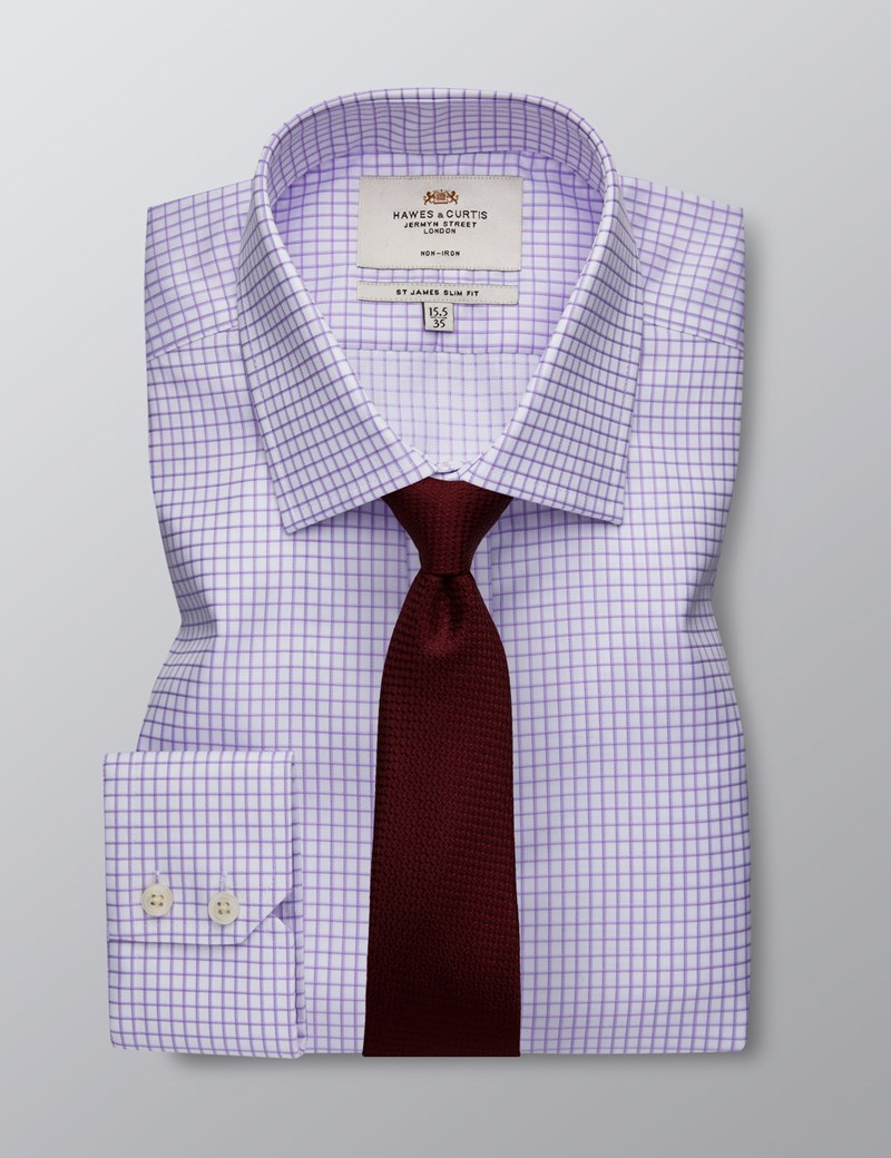 Men's Formal Lilac & White Grid Check Slim Fit Shirt - Single Cuff - Non Iron