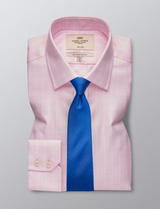 Men's Dress Pink & White Textured Grid Plaid Slim Fit Shirt - Single Cuff - Non Iron