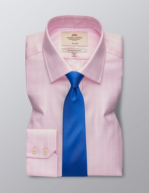 Men's Business Pink & White Textured Grid Check Slim Fit Shirt - Single Cuff - Non Iron