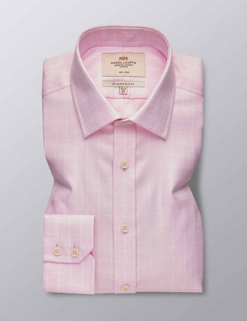 Men's Formal Pink & White Textured Grid Check Slim Fit Shirt - Single Cuff - Non Iron