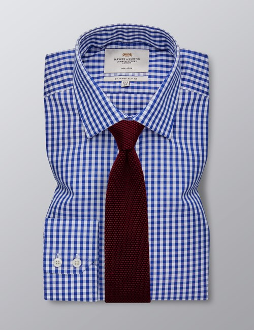 Men's Business Navy & White Large Gingham Check Slim Fit Shirt - Single Cuff - Non Iron