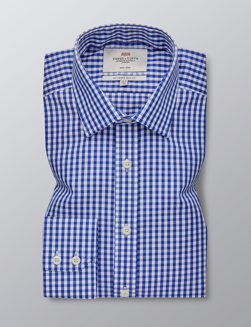 Men's Dress Navy & White Large Gingham Plaid Slim Fit Shirt - Single Cuff - Non Iron