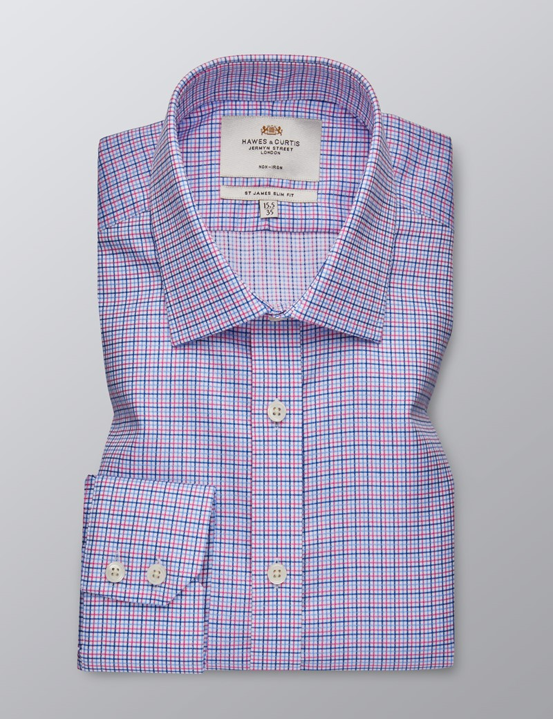 Men's Dress Pink and Blue Multi Plaid Slim Fit Shirt - Single Cuff - Non Iron