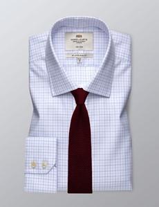 Businesshemd – Slim Fit – Kentkragen – Weiß mit Gitter in blau