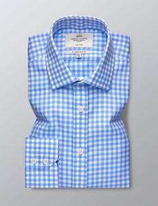 Bügelfreies Businesshemd – Slim Fit – Kentkragen – Vichy-Karo hellblau