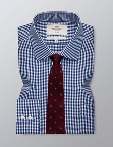 Men's Formal Navy & White Gingham Check Slim Fit Shirt - Single Cuff - Chest Pocket - Non Iron