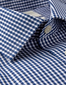 Men's Business Navy & White Gingham Check Slim Fit Shirt - Single Cuff - Chest Pocket - Non Iron
