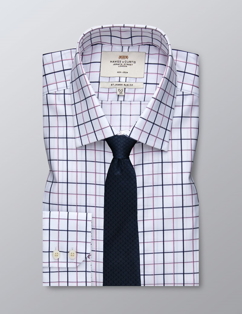 Men's Formal Navy & Pink Check Slim Fit Shirt - Single Cuff - Non Iron