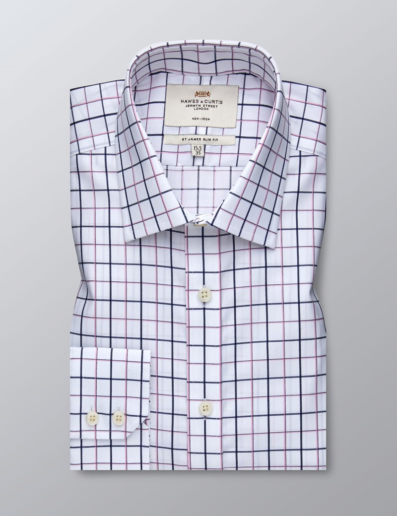 Men's Business Navy & Pink Check Slim Fit Shirt - Single Cuff - Non Iron