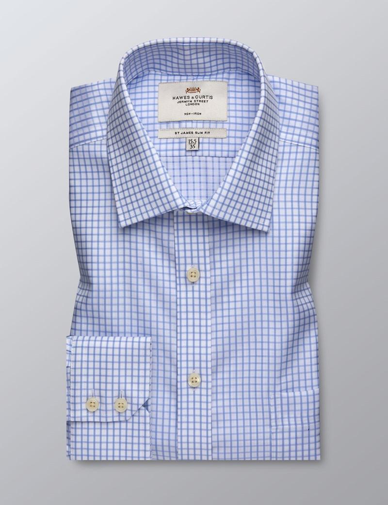 Men's Business Light Blue & White Grid Check Slim Fit Shirt - Single Cuff - Non Iron