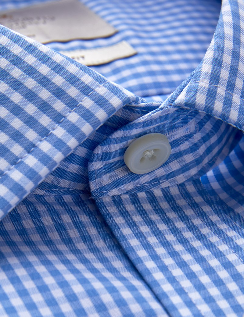 Men's Business Blue & White Gingham Check Slim Fit Shirt with Chest Pocket and Single Cuff - Non Iron
