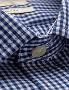 Men's Formal Navy & White Gingham Check Slim Fit Shirt with Chest Pocket and Single Cuff - Non Iron