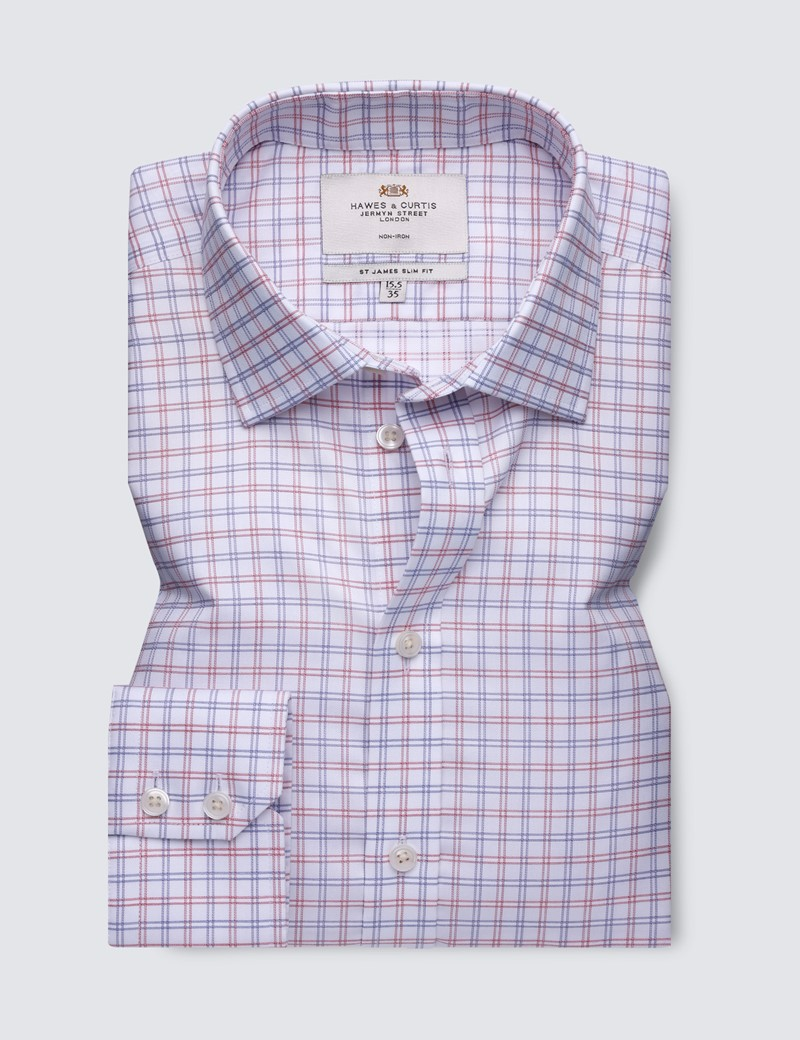 Men's Business Red & Navy Check Slim Fit Shirt with Semi Cutaway Collar and Single Cuff - Non Iron
