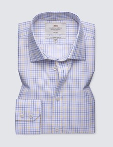 Men's Business Blue & Yellow Check Slim Fit Shirt with Semi Cutaway Collar and Single Cuff - Non Iron