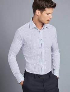 Men's Formal White & Blue Print Slim Fit Cotton Stretch Shirt - Single Cuff