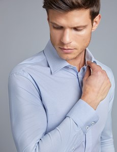 Men's Blue & White Slim Fit Cotton Stretch Business Shirt - Single Cuff