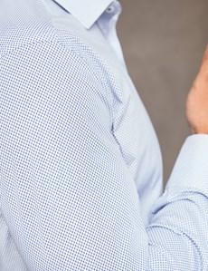 Men's White & Blue Slim Fit Cotton Stretch Business Shirt - Single Cuff