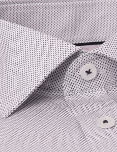 Men's Formal Pink & Navy Mini Geometric Print Slim Fit Cotton Stretch Shirt - Single Cuff
