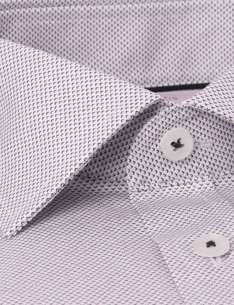 Men's Dress Pink & Navy Mini Geometric Print Slim Fit Cotton Stretch Shirt - Single Cuff