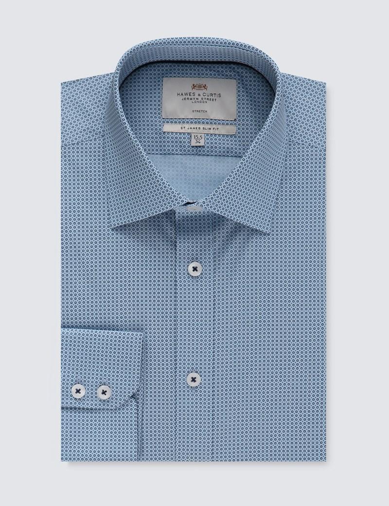 Men's Formal Blue & Navy Mini Geometric Print Slim Fit Cotton Stretch Shirt - Single Cuff
