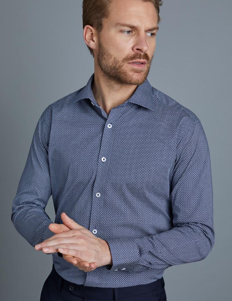 Men's Dress Navy & White Grid Print Slim Fit Cotton Stretch Shirt - Single Cuff