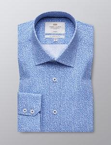 Men's Formal Light Blue & White Floral Print Slim Fit Cotton Stretch Shirt - Single Cuff