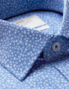 Men's Formal Light Blue & White Floral Print Slim Fit Cotton Stretch Shirt - Single Cuff