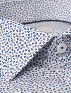 Men's Formal White & Navy Floral Print Slim Fit Cotton Stretch Shirt - Single Cuff