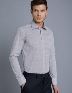 Businesshemd – Slim Fit – Kentkragen – Baumwollstretch – Minimal Blüten blau