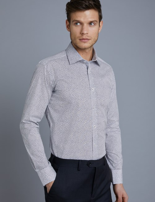 Businesshemd – Slim Fit – Kentkragen – Baumwollstretch – Minimal Blüten blau