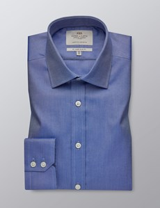 Men's Dress Blue Plain Slim Fit Shirt - Single Cuff - Easy Iron