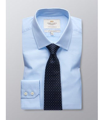 Men's Business Blue Poplin Slim Fit Shirt - Single Cuff - Easy Iron