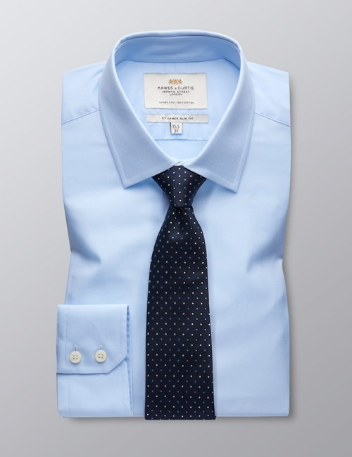 Men's Formal Blue Poplin Slim Fit Shirt - Single Cuff - Easy Iron