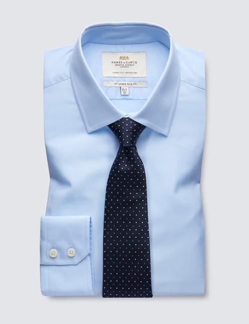 Men's Business Blue Poplin Slim Fit Shirt - Single Cuff - Easy Iron