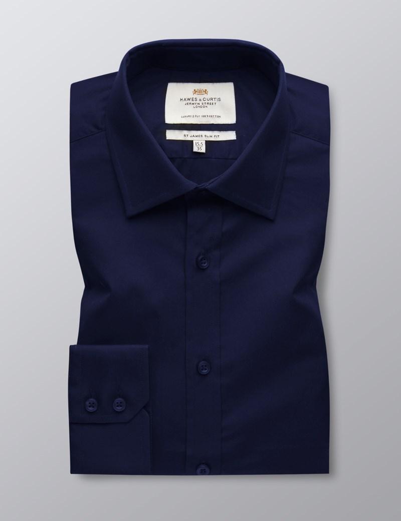 Men's Navy Poplin Slim Fit Dress Shirt - Single Cuff - Easy Iron