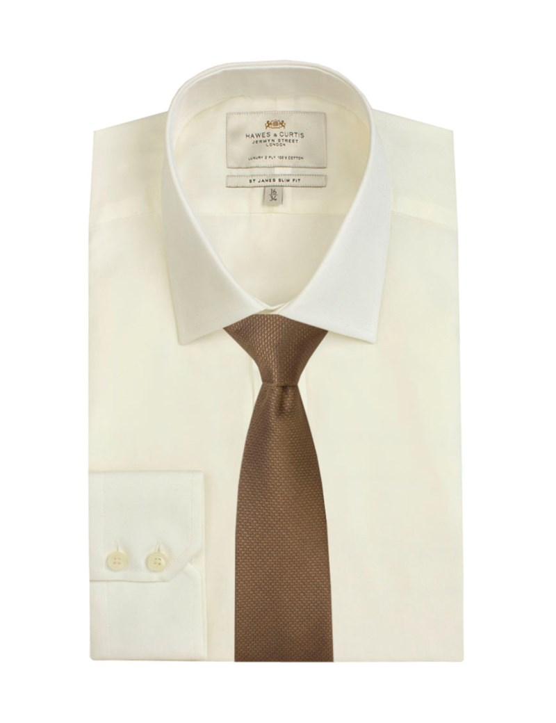 Men's Plain Ivory Poplin Slim Fit Business Shirt - Single Cuff