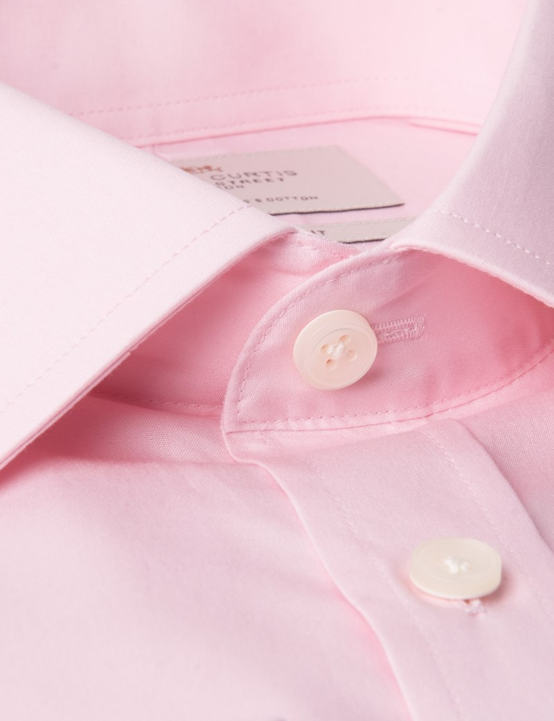 Men's Pink Poplin Slim Fit Dress Shirt - Single Cuff - Easy Iron